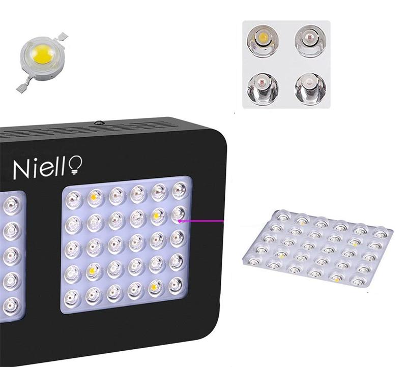 Avis - Niello 300W LED Grow lightà Double lentille Optique, Spectre Complet pour la Croissance et la Floraison des Plantes en intérieur with UV IR