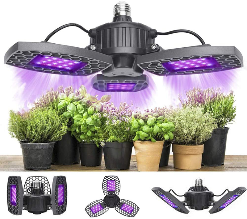Test - Lampe de Plante, 80W Lampe de Croissance Plante Led Horticole Lampe, 144 LED lumière Solaire à Spectre Complet avec Panneaux réglables pour Plantes
