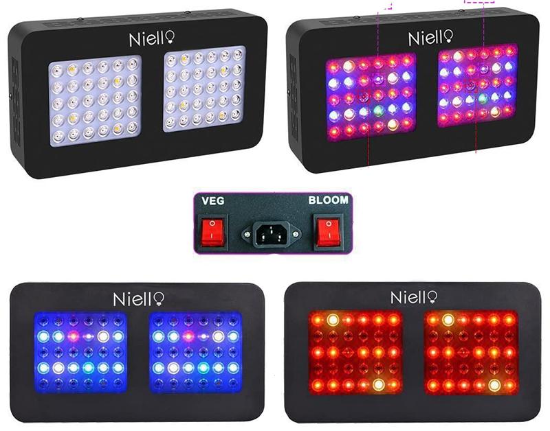 Test - Niello 300W LED Grow lightà Double lentille Optique, Spectre Complet pour la Croissance et la Floraison des Plantes en intérieur with UV IR