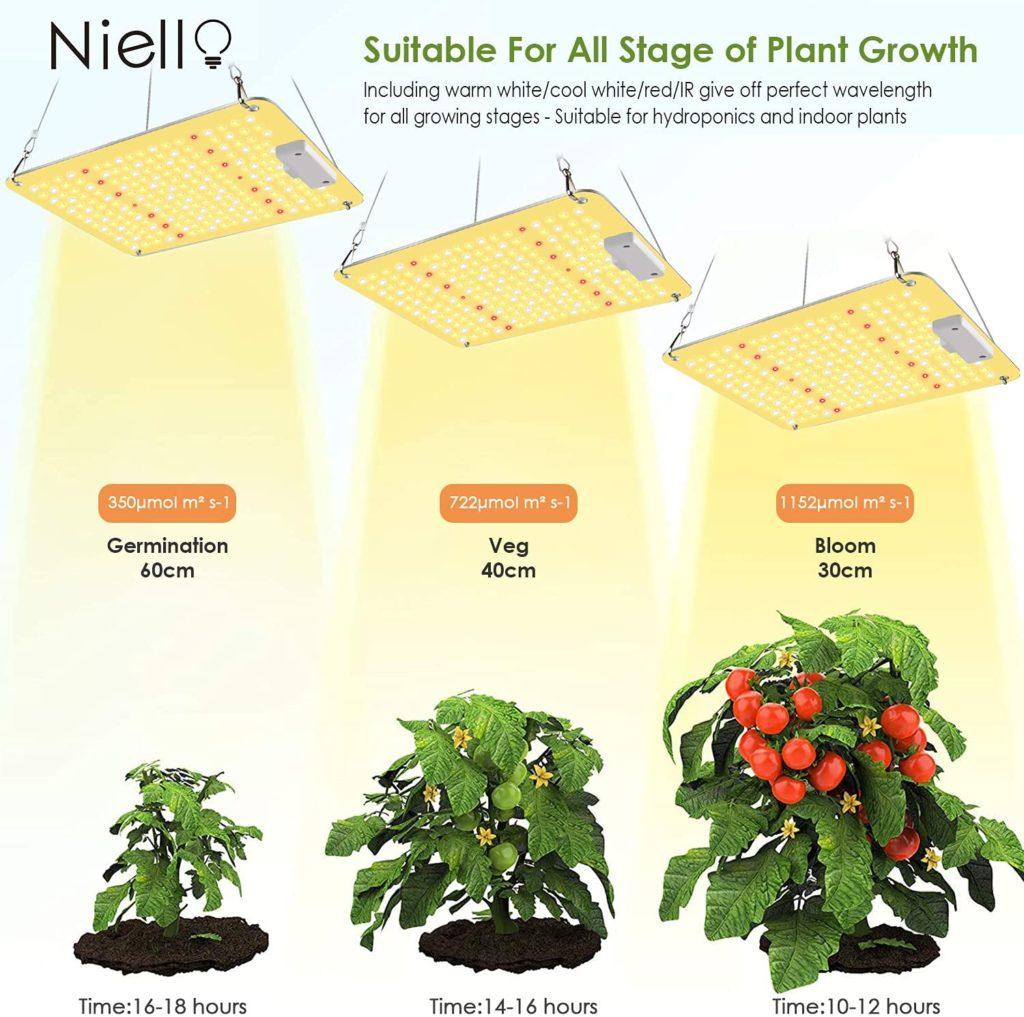 Niello lampe de croissance QB 1000W, lampe led horticole avec infrarouge IR