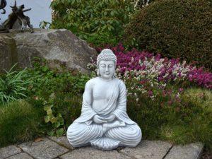 Avis - gartendekoparadies.de Figure de Pierre Massive Bouddha en Pierre reconstituée, résistant au Gel (Gris)