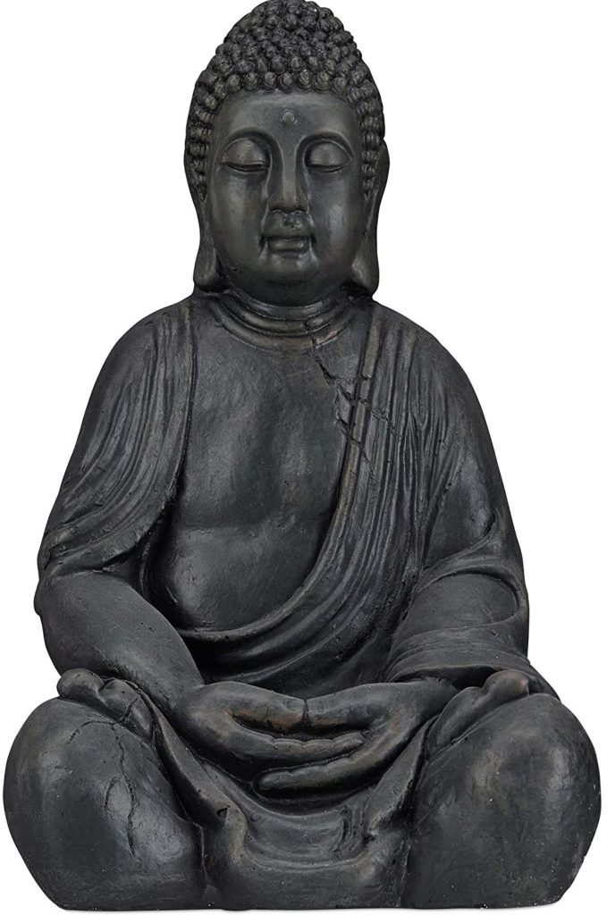 Test - Relaxdays Statue de Buddha Figurine de Bouddha décoration Jardin Sculpture céramique Zen 50 cm, Gris foncé, grisfoncé