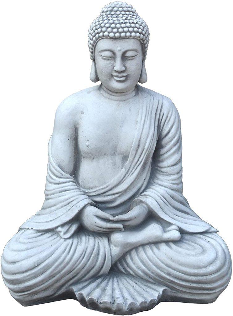 Test - gartendekoparadies.de Figure de Pierre Massive Bouddha en Pierre reconstituée, résistant au Gel (Gris)